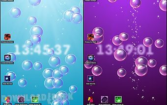 Bubbles & clock live wallpaper
