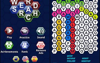 Word search puzzles hexagon