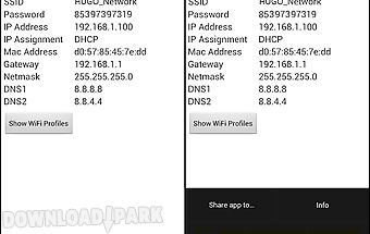 Wifi password, ip, dns