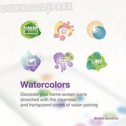 watercolor line launcher theme