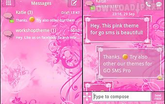 Go sms pro theme pink flowers