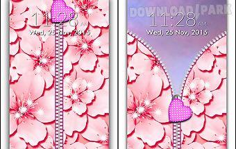 Pink zipper lock screen