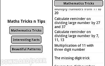 Maths tricks tips patterns