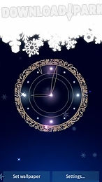 snowy night clock