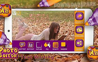 Photo editor text writing