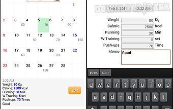 Fitness diary - health log