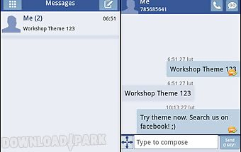 Go sms theme blue white