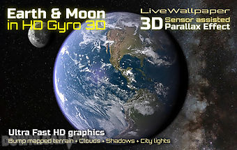 Earth & moon in hd gyro 3d