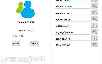 Nick creator for msn