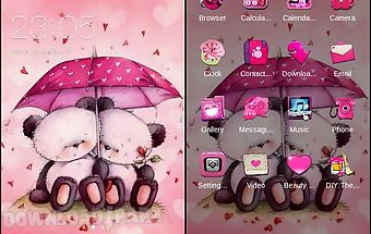 Cute pink bear love theme