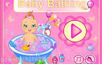 Cute baby taking bath