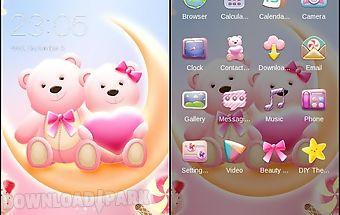 Pink bear heart cute theme