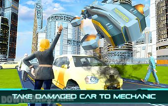 Tourist futuristic flying car
