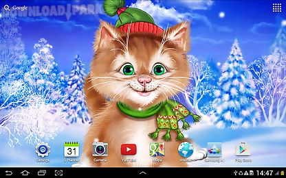 winter cat live wallpaper