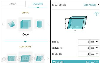 Area volume calculator