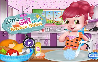 Girl wash kitchen dishes
