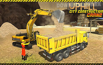 Uphill city construction crane