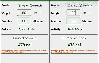 Burned calories calculator