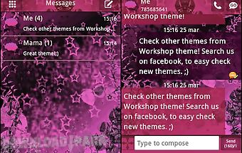 Go sms theme pink dark star