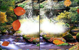 Autumn waterfall 3d