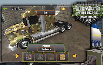 Big army trucks parking 3d